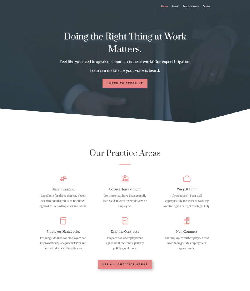 gainesville employment law law firm website design by vlad madorsky-870x1012px