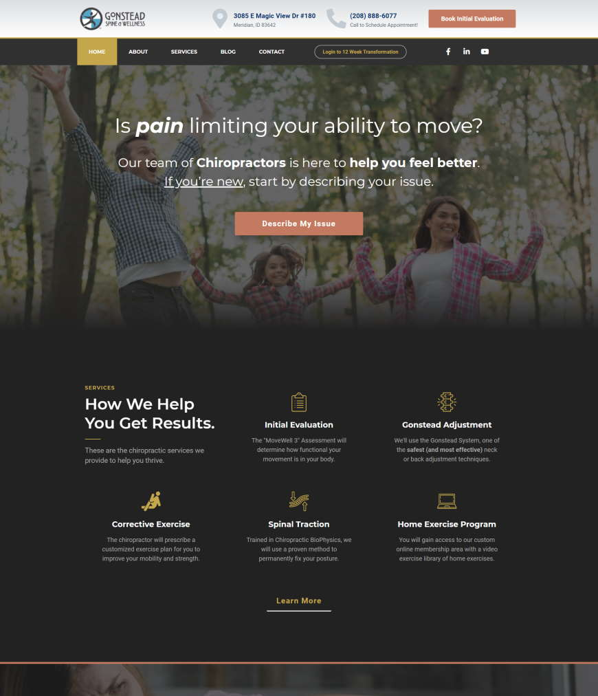 gonstead spine and wellness chiropractor website design by vlad madorsky-870x1012px
